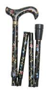 Folding Elite Walking Stick - Black Floral